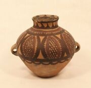 Chinese Neolithic Terracotta Pot With Geometric Paint Work