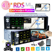 Single 1din 4.1 Stereo Car Radio Player Touch Screen Bt Rds Tf Aux Mp5 + Camera