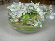 Ndi Faux Floral Cattleya Orchid White Round Glass Centerpiece Bowl With Greenery