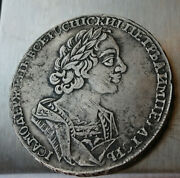 Coin 1 Ruble 1724 Year Peter 1 Russian Empire Silver
