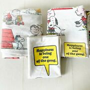 Vintage Charlie Brown Sheets Peanutand039s And He Gang Twin Sheet Snoopy Fabric 70and039s