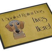 Caroline's Treasures Bb1481mat Wirehaired Dachshund Spoiled Dog Lives Here