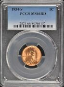 1954-s 1c Lincoln Cent - Type 1 Wheat Reverse Pcgs Ms66rd