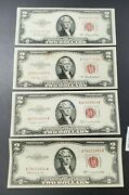4 Note Set 1953 + Abc 2 Red Seal Legal Tender Circ Two Dollar Bills Aa Serial