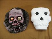 Skeleton And Zombie Blow Mold And Plastic Hanging Lighted Halloween Decor Mold Set