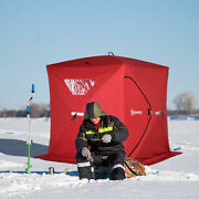4 Person Portable Ice Fishing Shelter Outdoor Tent W/ Travel Bag Windows Red