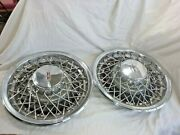 1976-1979 Olds Wire Hub Caps 15 Set Of 2 Stainless And Chrome -h91