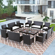 16pcs Patio Furniture Couch Wicker Rattan Cushions Sectional Sofa Table Set