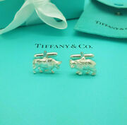And Co. Vintage Rare Silver Bear And Bull Stock Market Trader Cufflinks