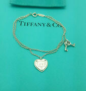 Return To Love And Co. Sterling Silver Heart Tag Key 6.5 Bracelet