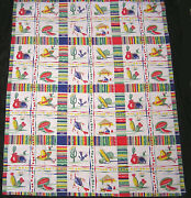 Vintage Wilendur Tablecloth Repeating Southwestern Pattern With Tag 1950s Usa