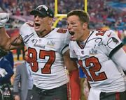 Tom Brady And Rob Gronkowski Tampa Bay Buccaneers Signed 16 X 20 Super Bowl Lv P