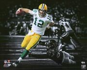 Aaron Rodgers Green Bay Packers Signed 16 X 20 Touchdown Run Spotlight Photo