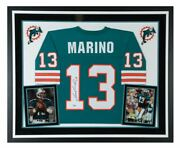 Dan Marino Miami Dolphins Signed Mitchell And Ness Teal Replica Jersey Framed