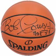 Bob Cousy Boston Celtics Signed Spalding Indoor/outdoor Basketball With Hof 71