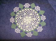New 3 Pc Crocheted Lilac Purple Flowers Doily 10 Doilies New N Pkg Made In Usa