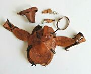 Vintage Western Toy Leather Saddle And Holsters Pistols Unknown Maker