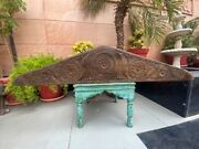 1700's Ancient Wooden Hand Carved Floral Triangle Shape Wall Hanging Door Panel
