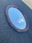 Ethan Allen Dark Antiqued Pine Old Tavern Large Oval Wall Mirror