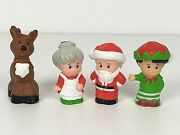 4 Fisher Price Christmas Little People Santa Claus Mrs. Claus Reindeer And Elf Htf