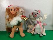 Annalee Christmas Set Of 2 Nativity Angel Mouse And Yuletide Lion And Lamb