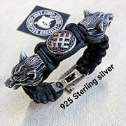 Paracord Bracelet With Beads Wolf Head And Svarog. 925 Sterling Silver.
