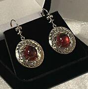 Vintage Rare 18.0cts Spessartite Dangle Earrings With Ornate 14k Gold Settings