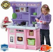 Little Bakers Kids Play Kitchen 30 Piece Stove Burner Light Real Cooking Sounds
