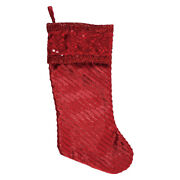 Ddi 2347550 Christmas Red Metallic Stocking With Sequins Case Of 48