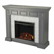 Sei Furniture Dakesbury Faux Stacked Stone Electric Fireplace Gray