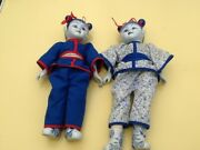 Vintage Collctable Chinese Cloth Dolls Pair Porcelain Head Hand Feet