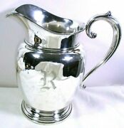 Vintage Manchester Sterling Silver Water Wine Pitcher 4.5 Pint 969 Monogram R