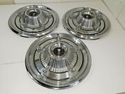 1966 Plymouth Hub Caps 14 Stainless With Chrome Centers Set Of 3 -hc297