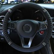 Pu Leather Diamond Car Steering Wheel Cover Protector 15/38cm Accessories 1 Pc
