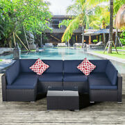 7 Pieces Outdoor Patio Furniture Sets Sectional Sofa Rattan Chair Wicker Set