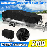 17-20ft Heavy Duty 210d Waterproof Pontoon Boat Cover Trailer Fish Ski Beam 96and039and039