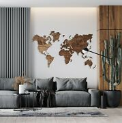 Map World Wall Wooden Art Decor Home Print Large Decoration Countries Wood New