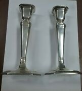Vintage Art Deco Pillar And Co. Sterling Silver Candlesticks