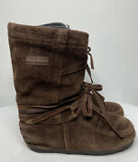 Steger Mukluks Winter Boots Womenandrsquos Size 5+/6+ Brown Moosehide Suede Wool Liners