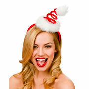 Adult Spiral Santa Hat On Headband Plush Deluxe Fancy Dress Christmas Party