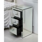 Mirrored Bedroom Night Stand Dresser Cabinet Sofa Side End Table With 3 Drawers
