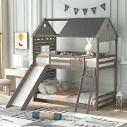 Twin Bunk Bed Wood Bed With Roof, Window, Slide, Ladder