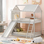 Twin Over Twin Bunk Bed Wood Bed With Roof, Window, Slide, Ladder