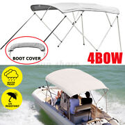 600d Bimini Top 4 Bow Boat Cover 54 H 67-103 Wide 8ft L W/ Rear Poles And Boot
