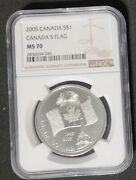 2005 Canada 1 - 40th Anniv Canadaand039s National Flag - Ngc Ms70 - 999 Silver Coin