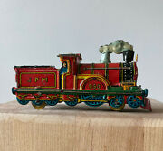 Antique Lithographed Tin Toy Train And Tender Jpm Meier Ges Gesch 950 Engineer