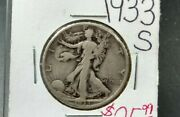 1933 S Walking Liberty Silver Eagle Coin Average Vf Very Fine Circulated