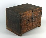 =antique 18th/19th C. Wooden Treasure Chest Chip Carved Small Trunk Minnesota