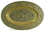 =antique 18th C. Brass Wall Platter Oval W. Embossed Coat Of Arms Baroque