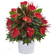 29 Mixed Anthurium Artificial Plant In White Tin Planter Nearly Natural P1041
